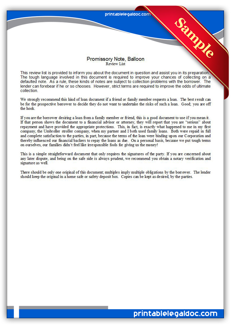 Free Printable Promissory Note, Balloon Form