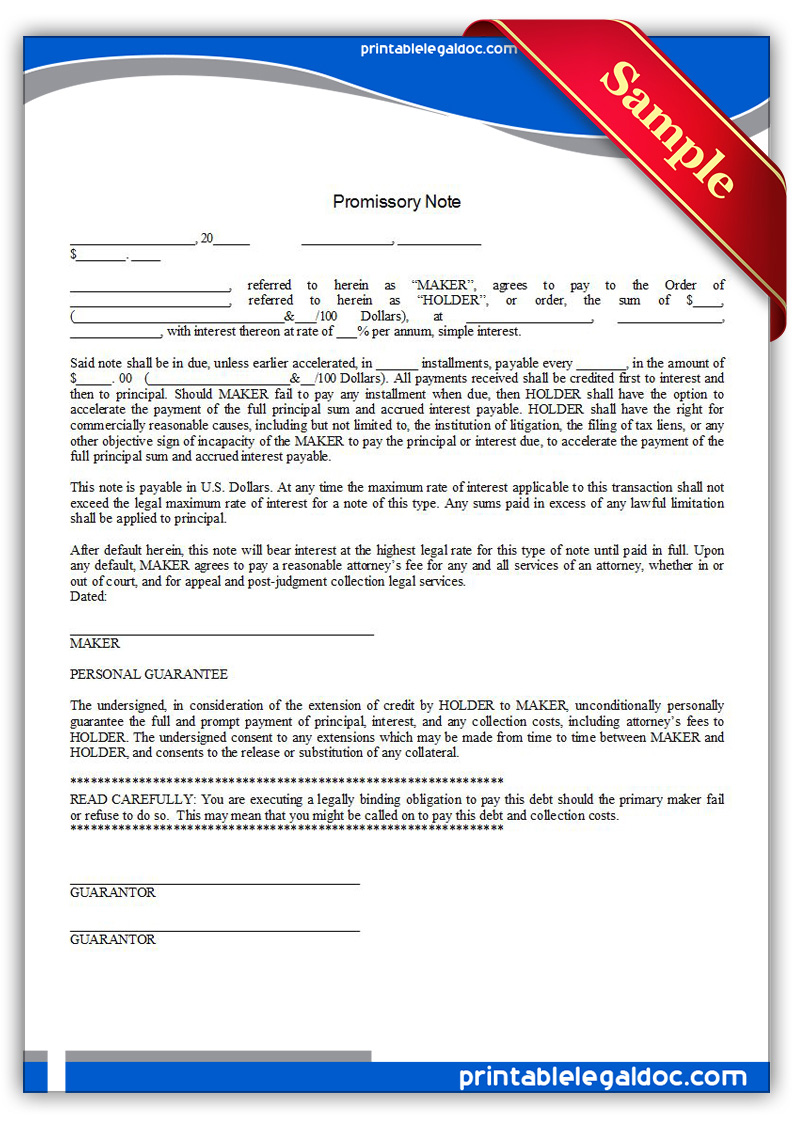 free printable promissory note form generic. Black Bedroom Furniture Sets. Home Design Ideas