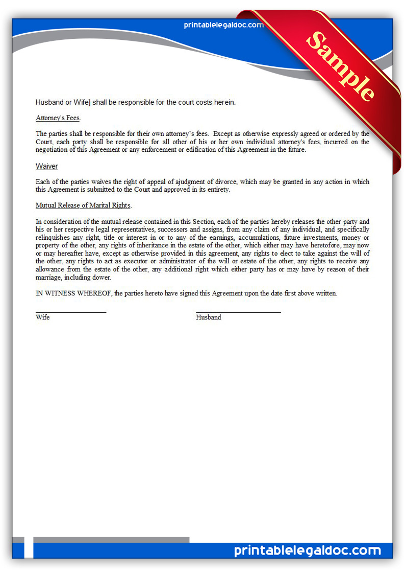 Free Printable Property Settlement Agreement Form GENERIC