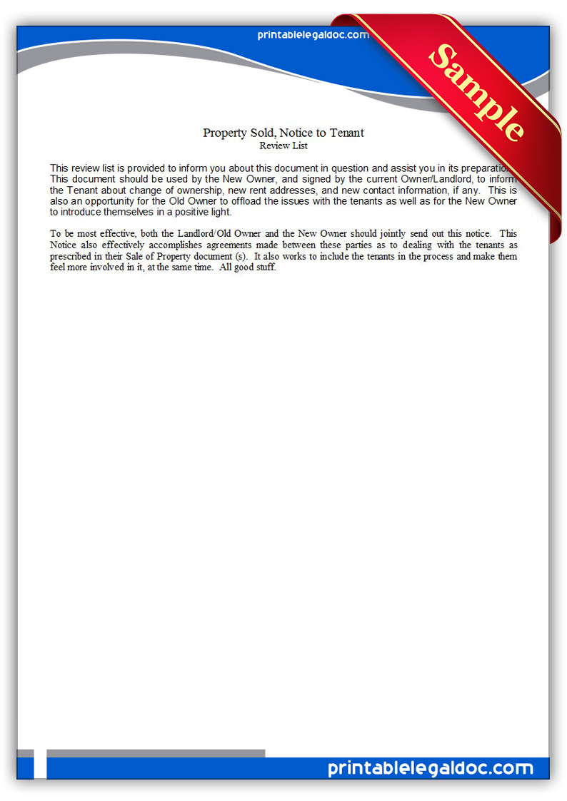 Free Printable Property Sold, Notice To Tenant Form