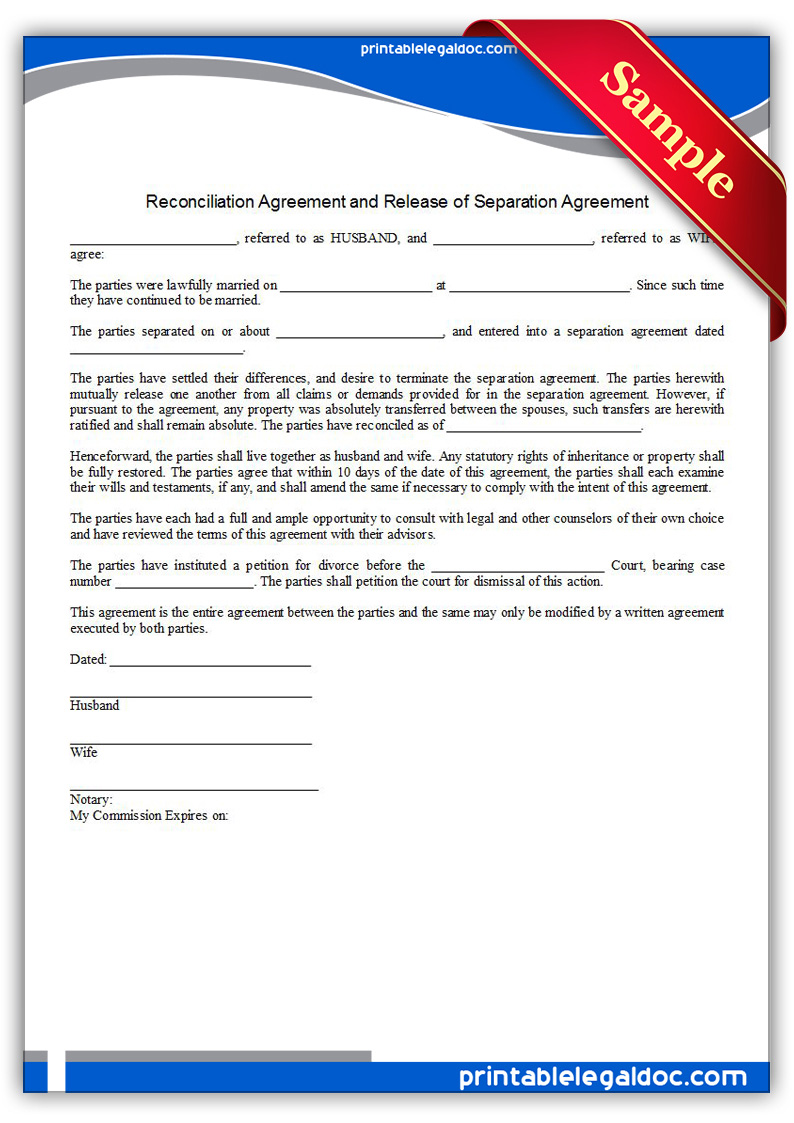 free printable reconciliation agreement form generic