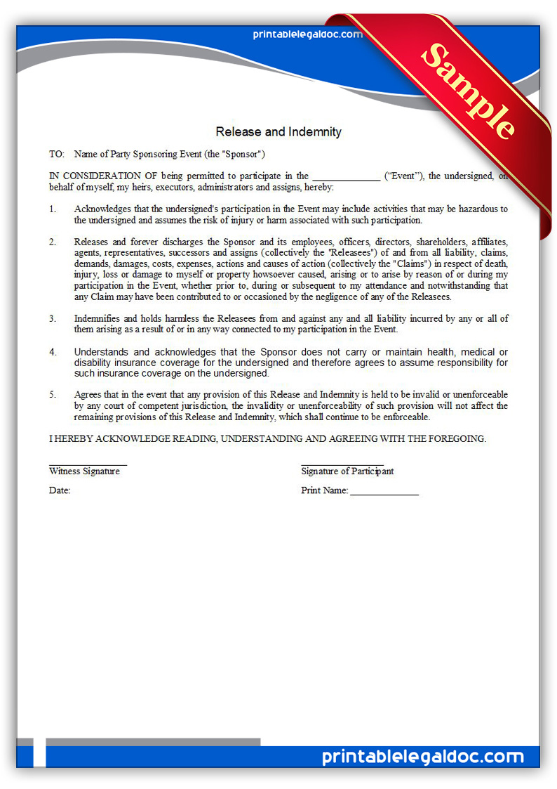 Free Printable Release And Indemnity Form