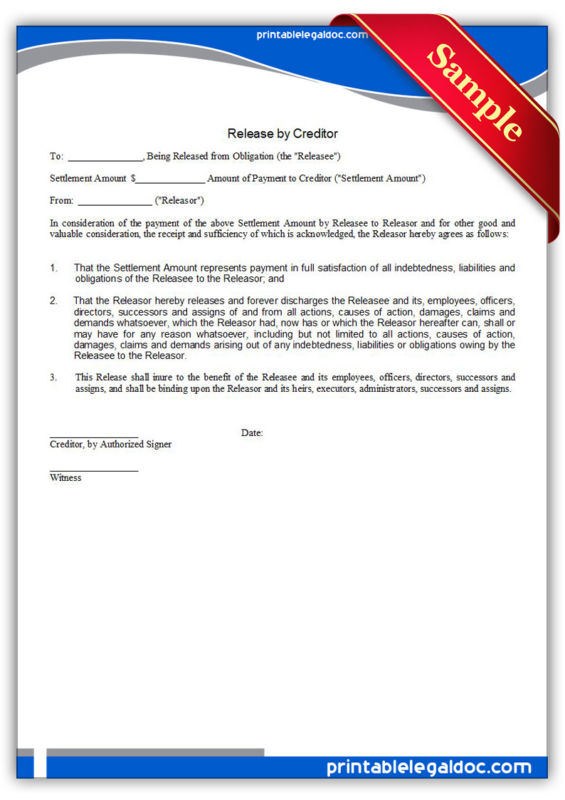 Free Printable Release By Creditor Form
