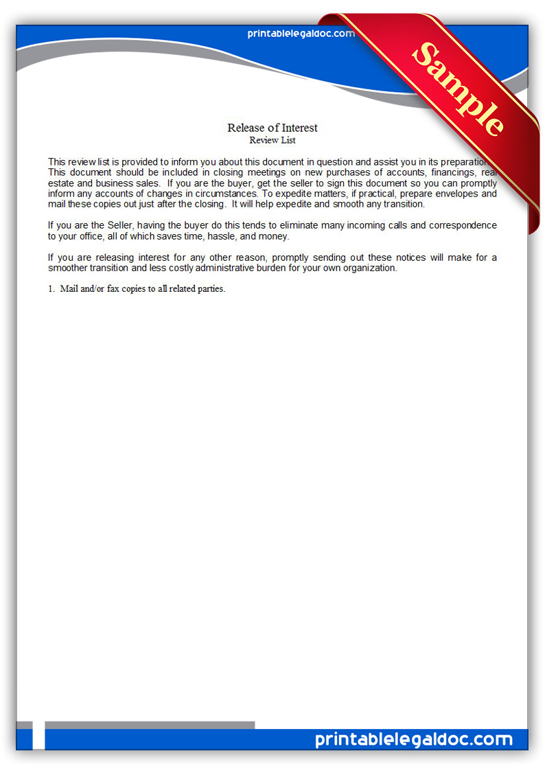 free printable release of interest form  generic
