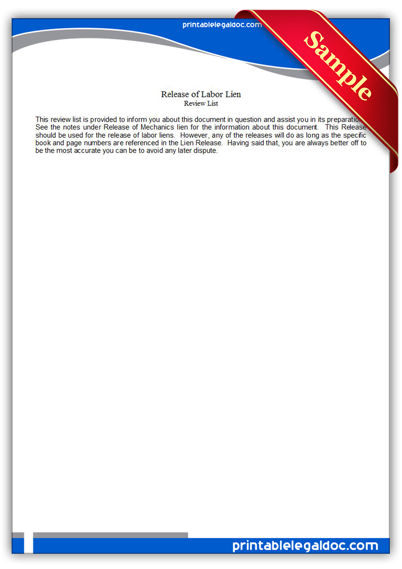 Free Printable Release Of Labor Lien Form