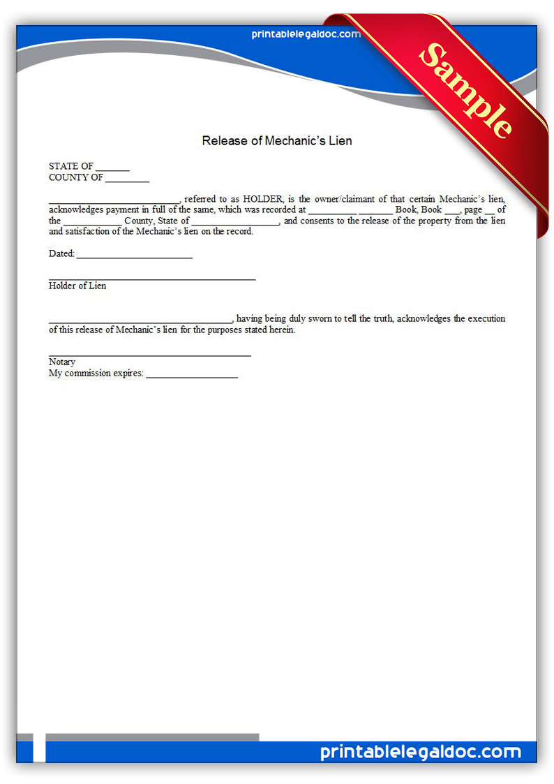Free Printable Release Of Mechanic's Lien Form