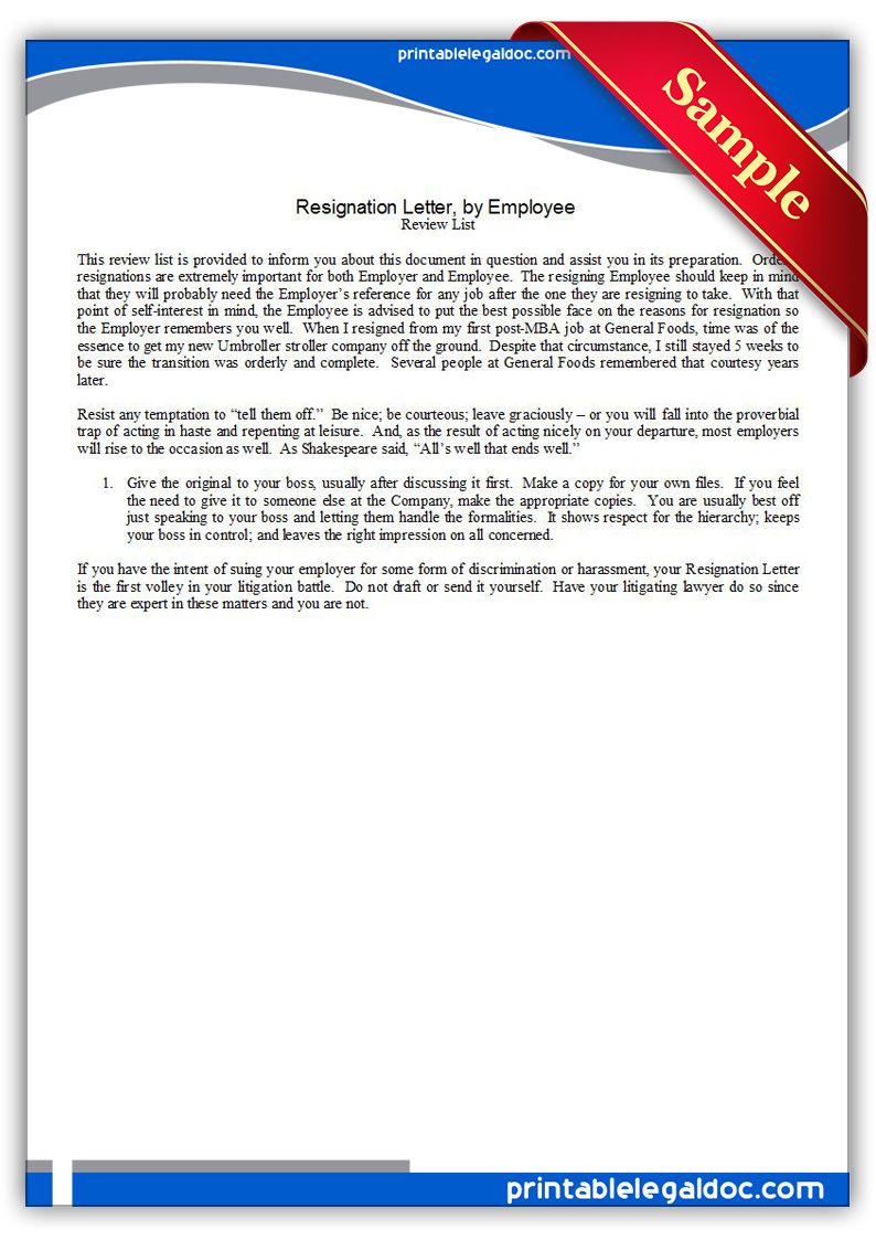 Free Printable Resignation Letter,By Employee Form (GENERIC)