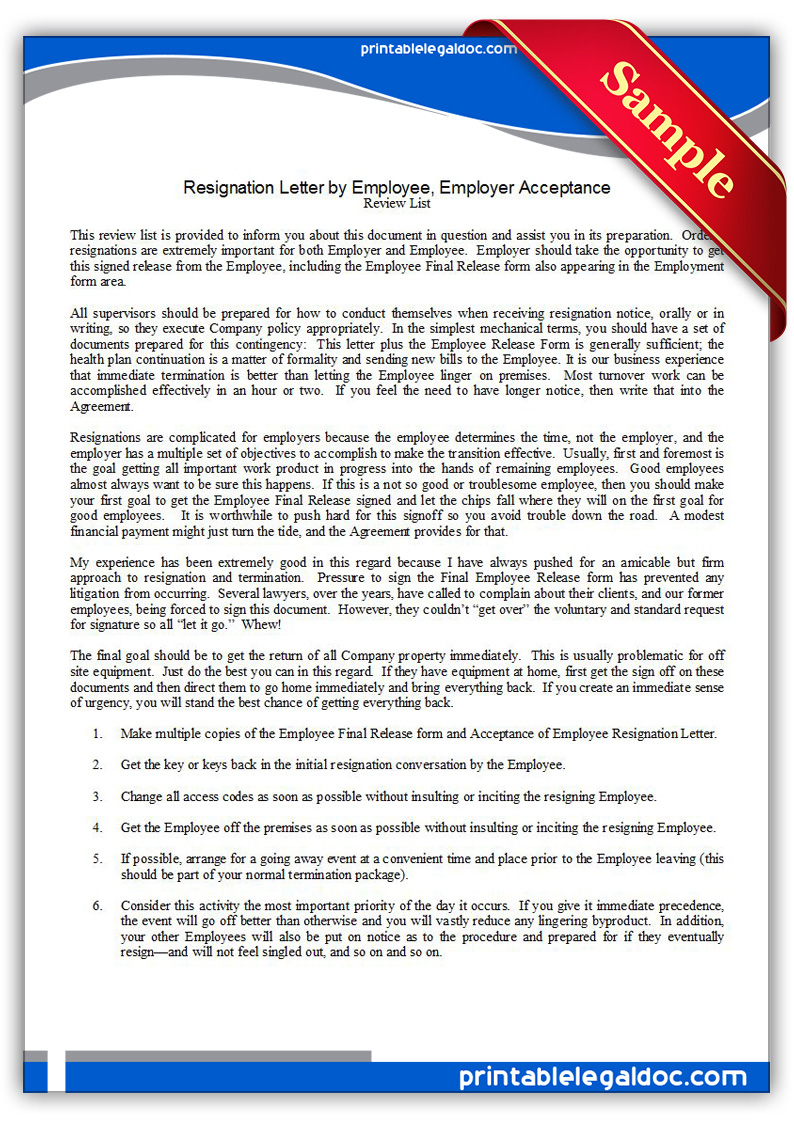 Free Printable Resignation Letter By Employee, Employer Acceptance ...