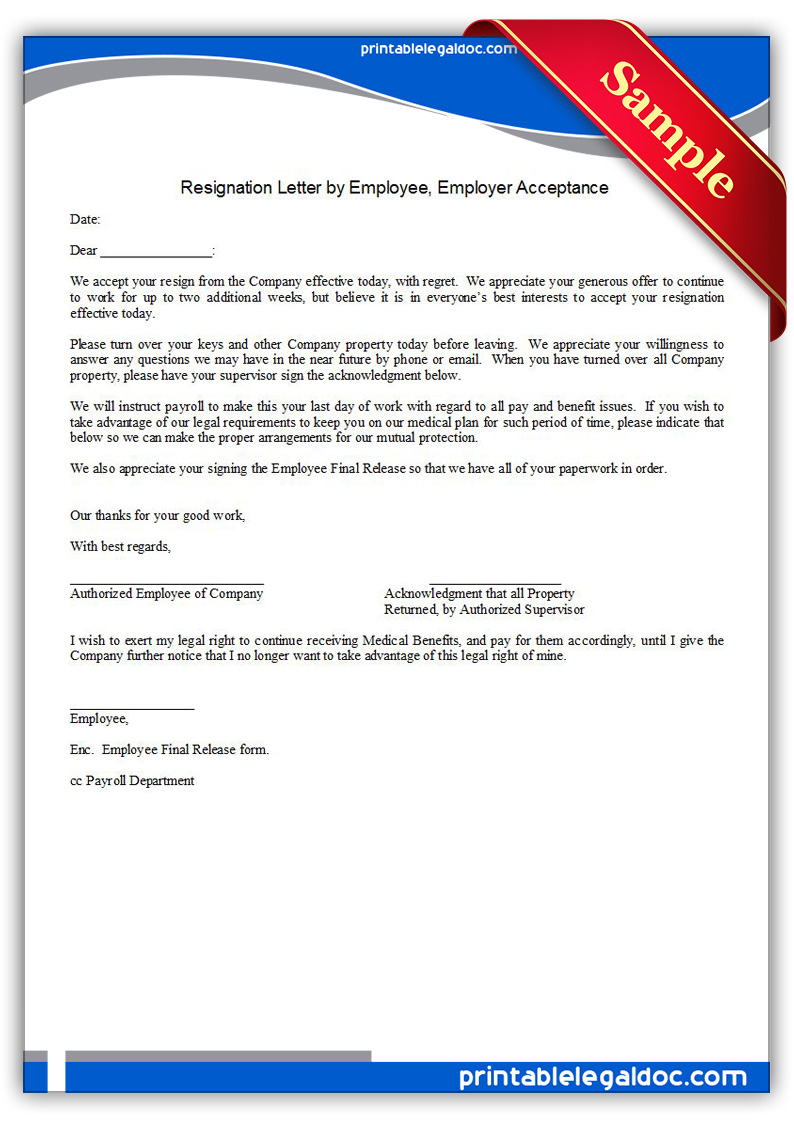 Free Printable Resignation Letter By Employee, Employer Acceptance Form