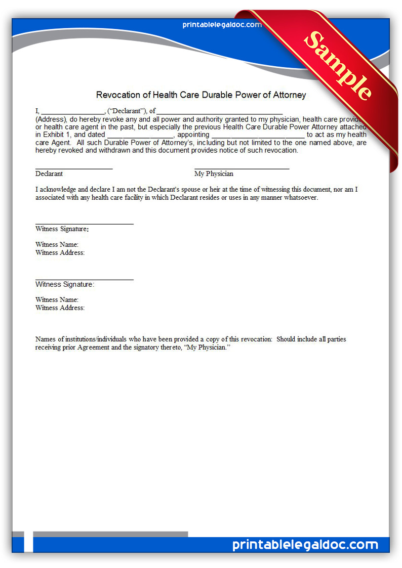 Free Printable Power Of Attorney, Durable, For Health Care Legal