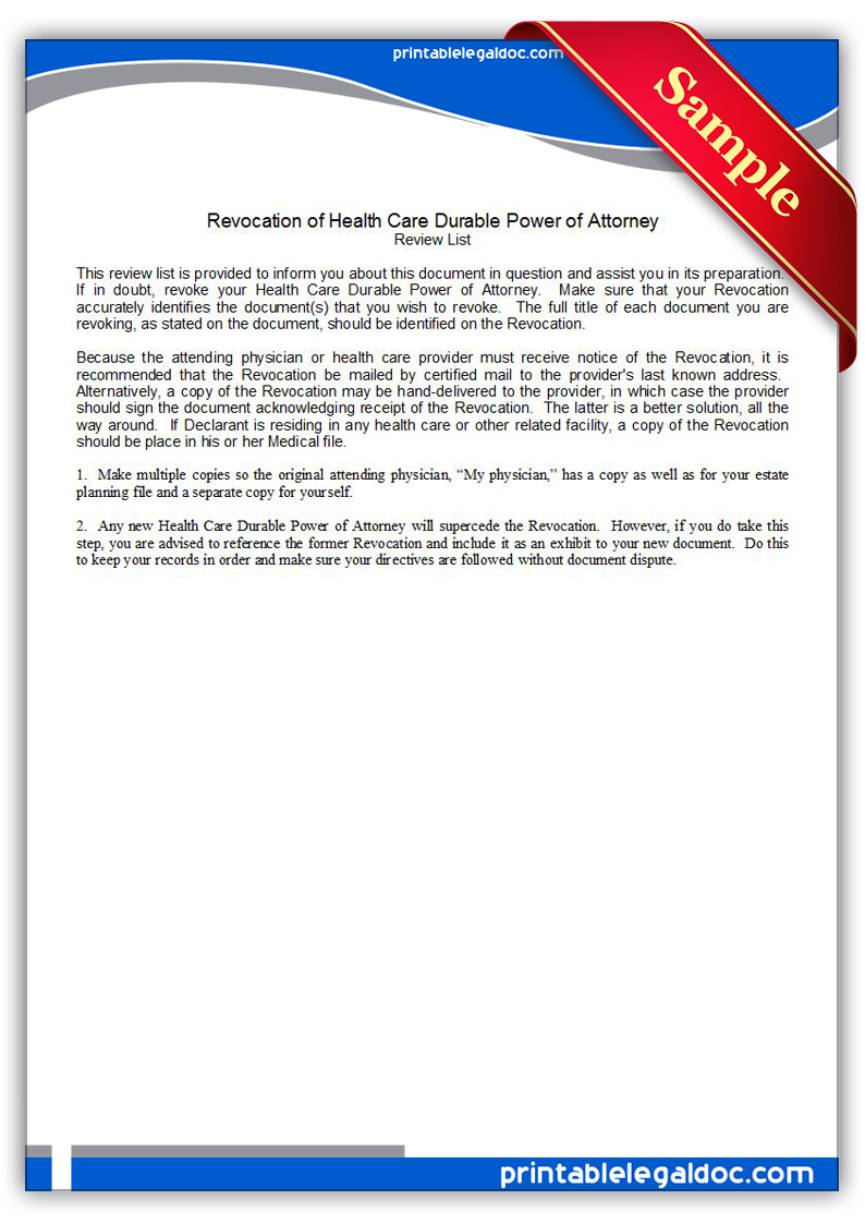 Free Printable Revocation Of Health Care Durable Power Of Attorney Form