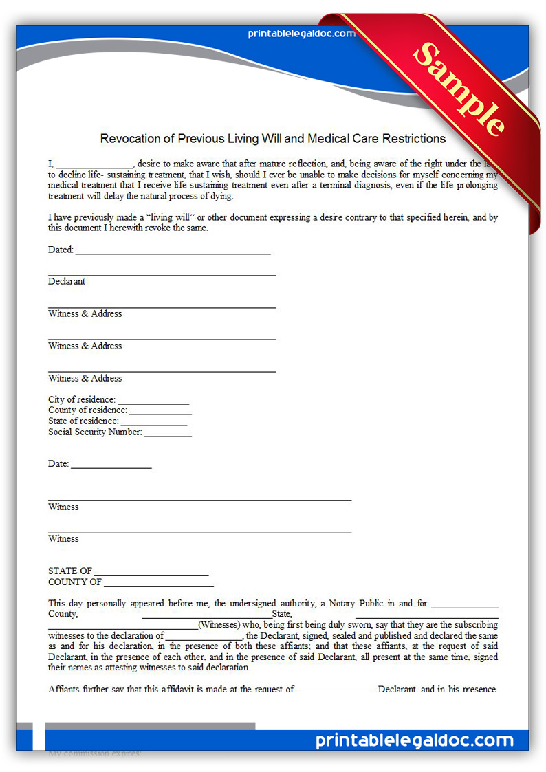 Free Printable Revocation Of Life Sustaining Agreement Form