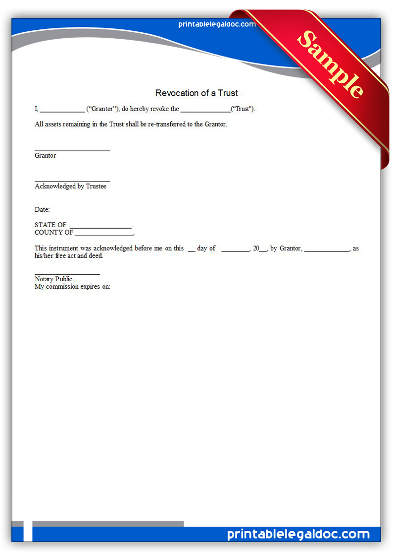 Free Printable Revocation Of A Trust Form