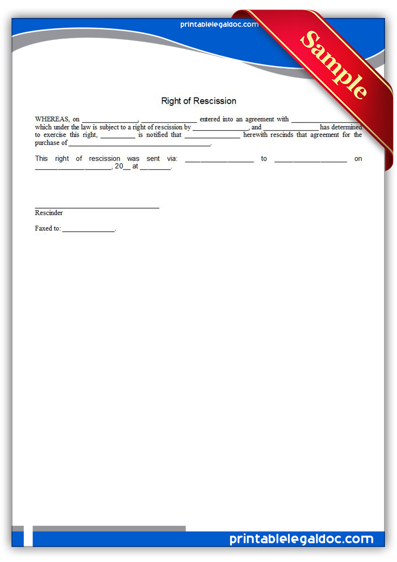 Free Printable Right Of Rescission Form Generic