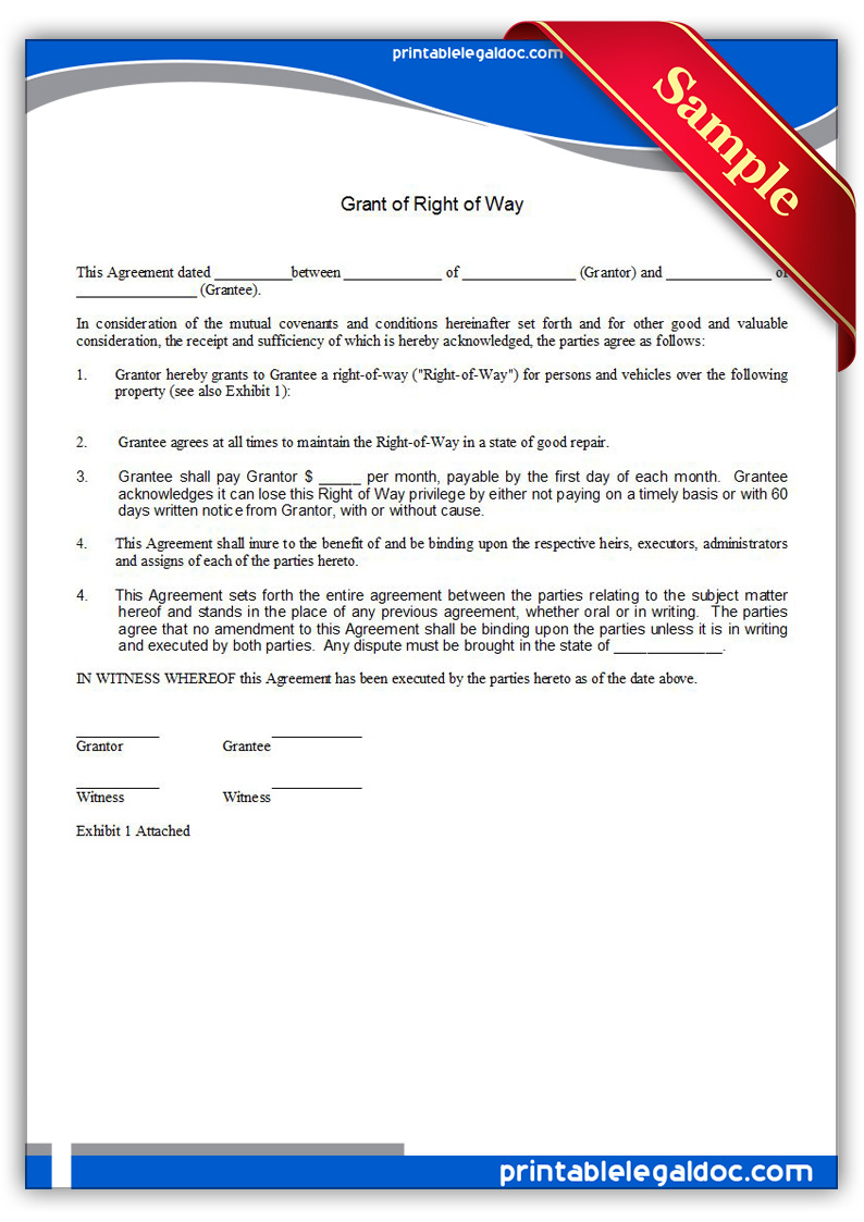 Free Printable Right Of Way Grant Form