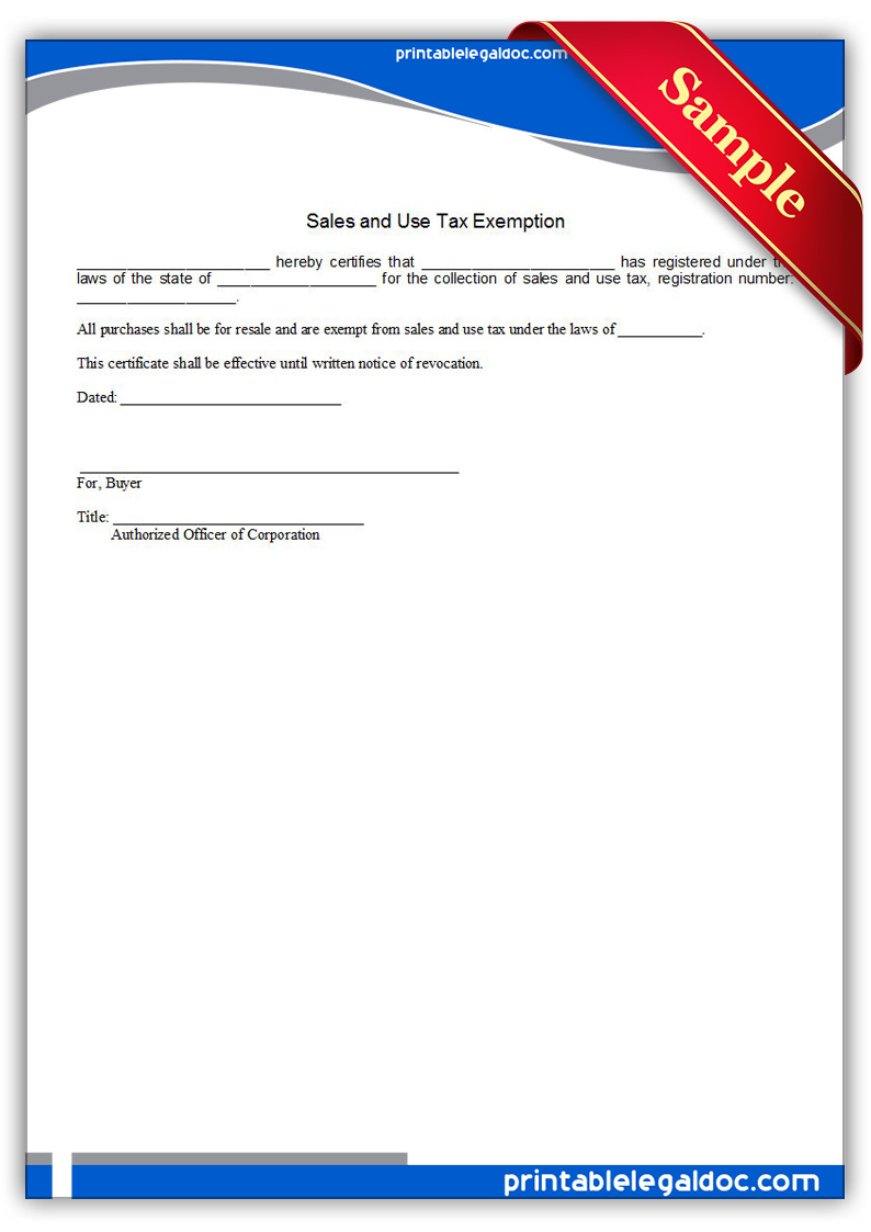 Free Printable Sales And Use Tax Exemption Form