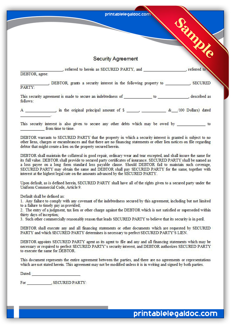 Free Printable Security Agreement Form GENERIC – Security Agreement
