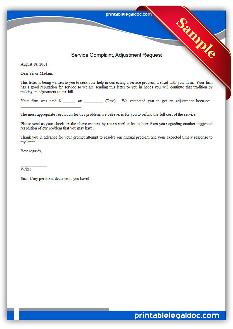 Free Printable Service Complaint, Adjustment Request Form