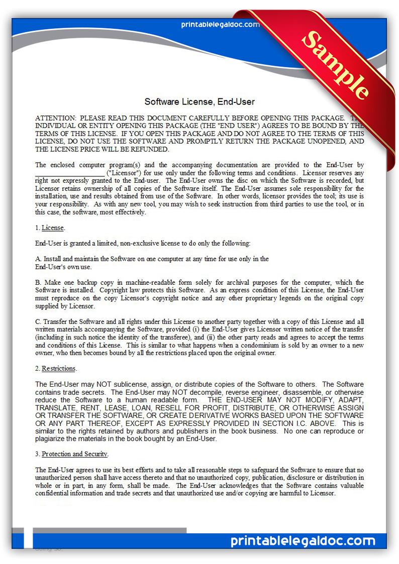 Free Printable Software License, Enduser Form