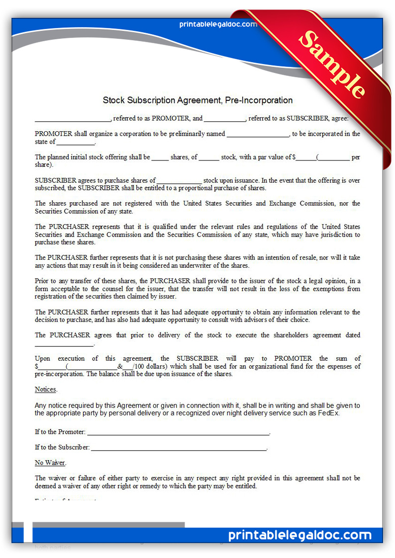 Free Printable Stock Subscription Agreement, Pre Incorporation Form ...