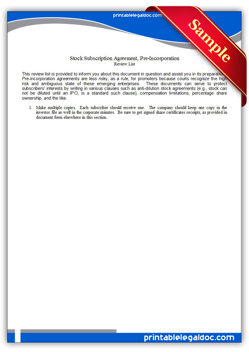 Free Printable Stock Subscription Agreement, Pre Incorporation Form