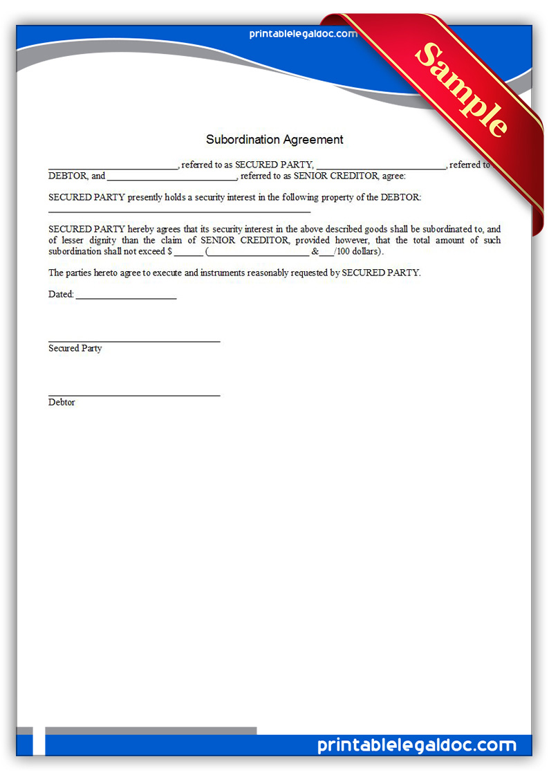 Free Printable Subordination Agreement Form Generic