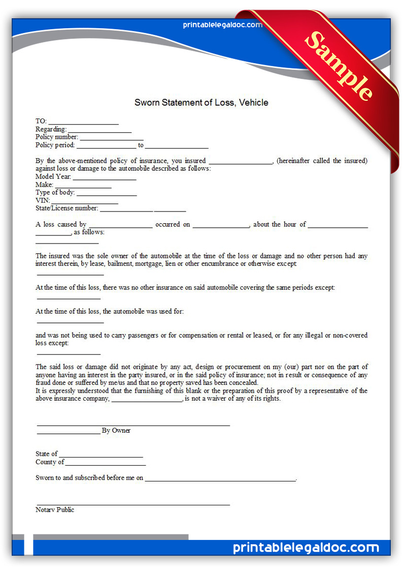 Free Printable Sworn Statement Of Loss, Vehicle Form (GENERIC)
