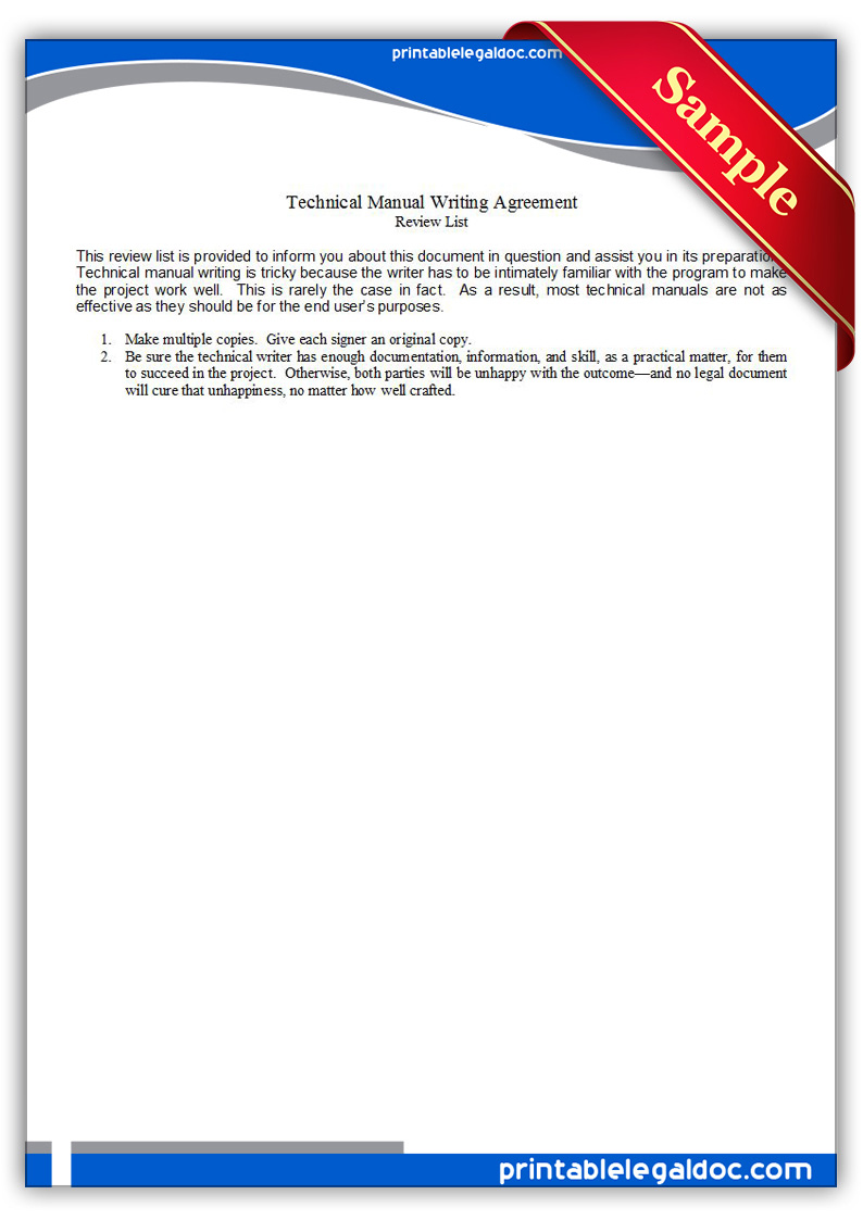 Free Printable Technical Manual Writing Agreement Form
