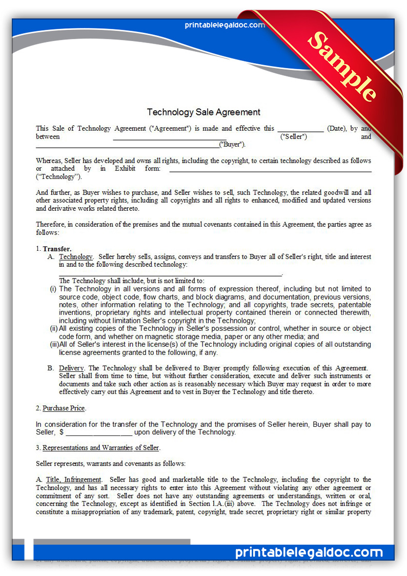 Free Printable Technology Sale Agreement, Exclusive Form