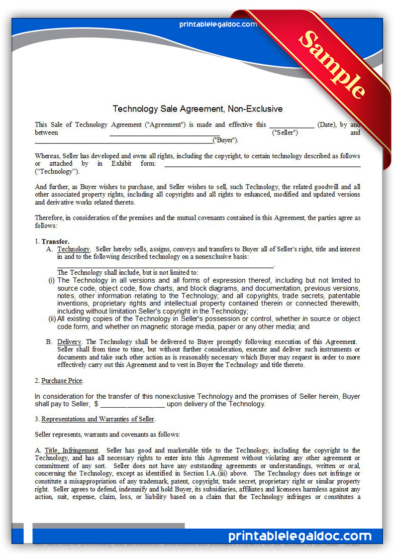 Free Printable Technology Sale Agreement, Non-exclusive ...