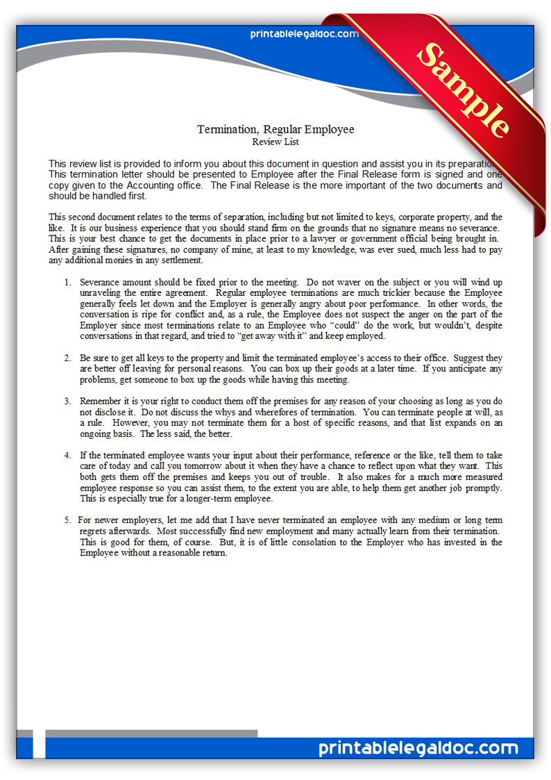 Termination Paperwork Template – Generic Termination Letter