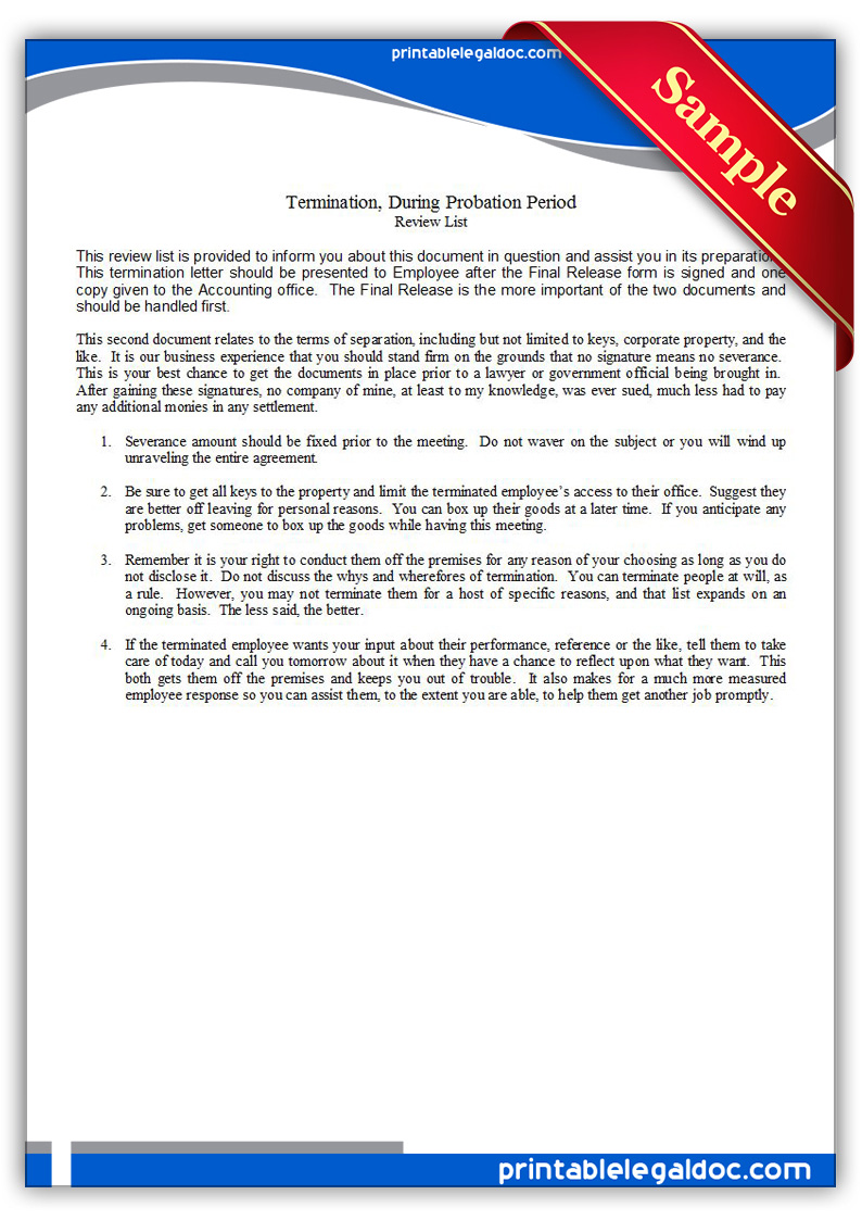 free printable termination  during probation period form