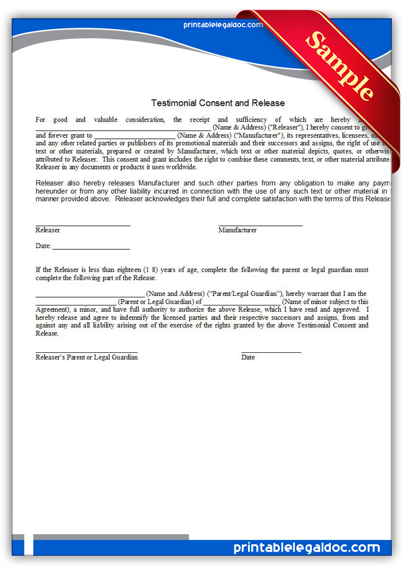 Free Printable Testimonial Consent And Release Form