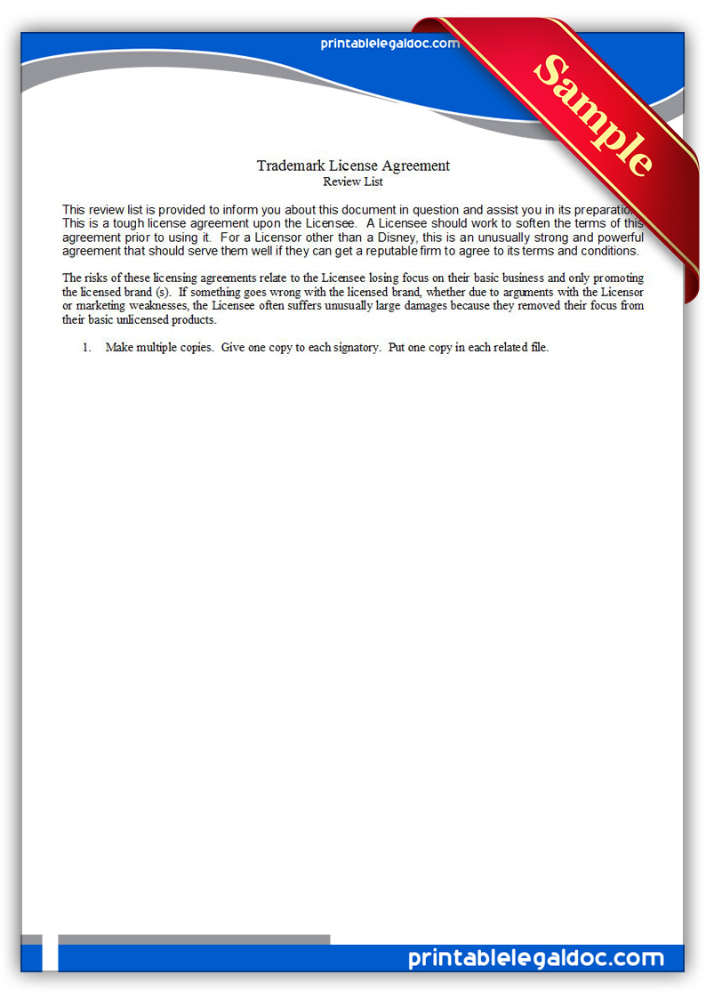 Free Printable Trademark License Agreement Form Generic