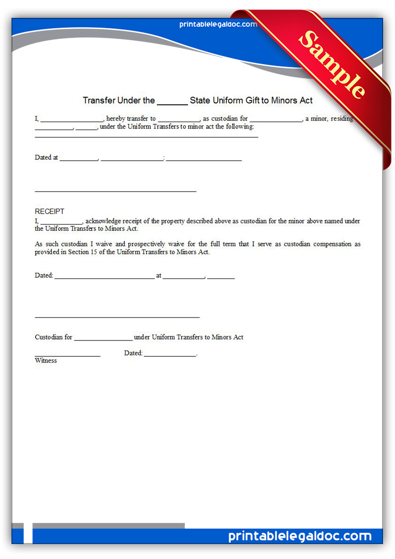 Free Printable Transfer Under The State Uniform Gift To Minors Act ...