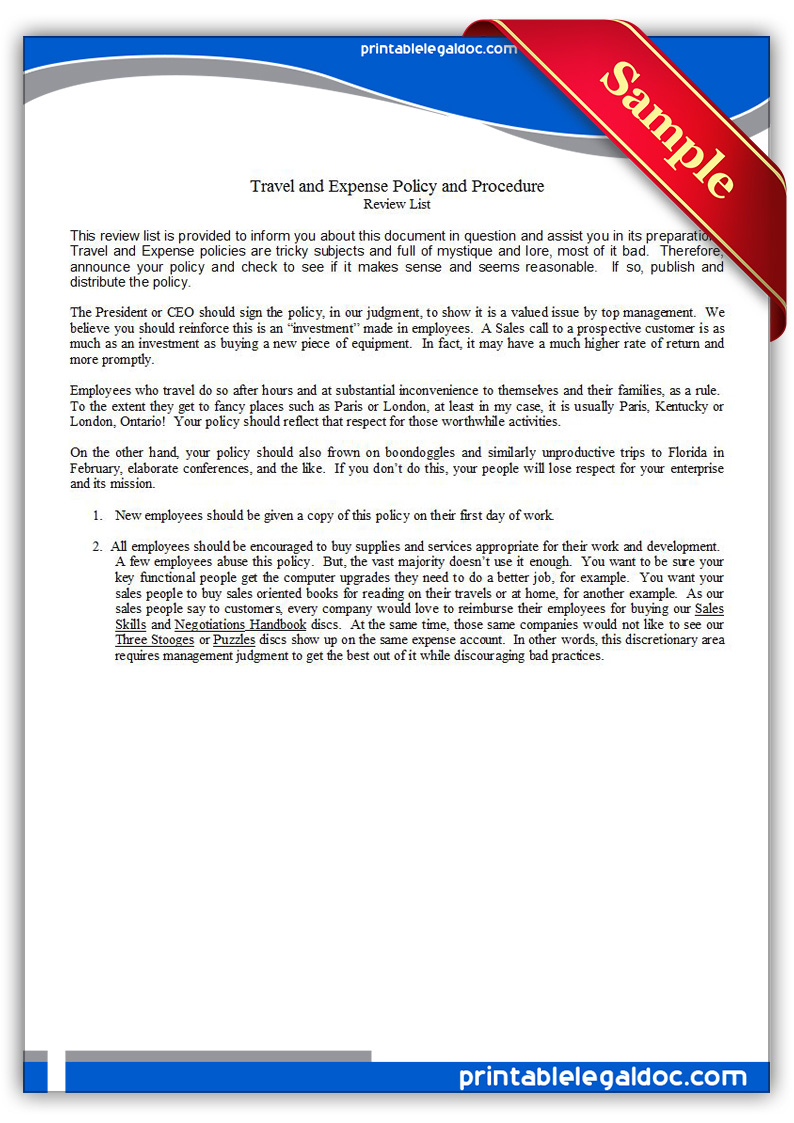 free printable travel and expense policy and procedure