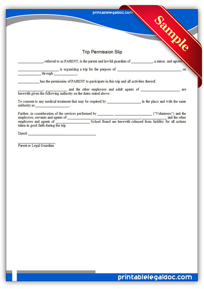 Free Printable Trip Permission Slip Form