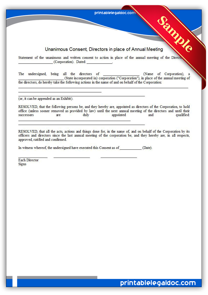 Free Printable Unanimous Consent, Directors Annual Meeting Form