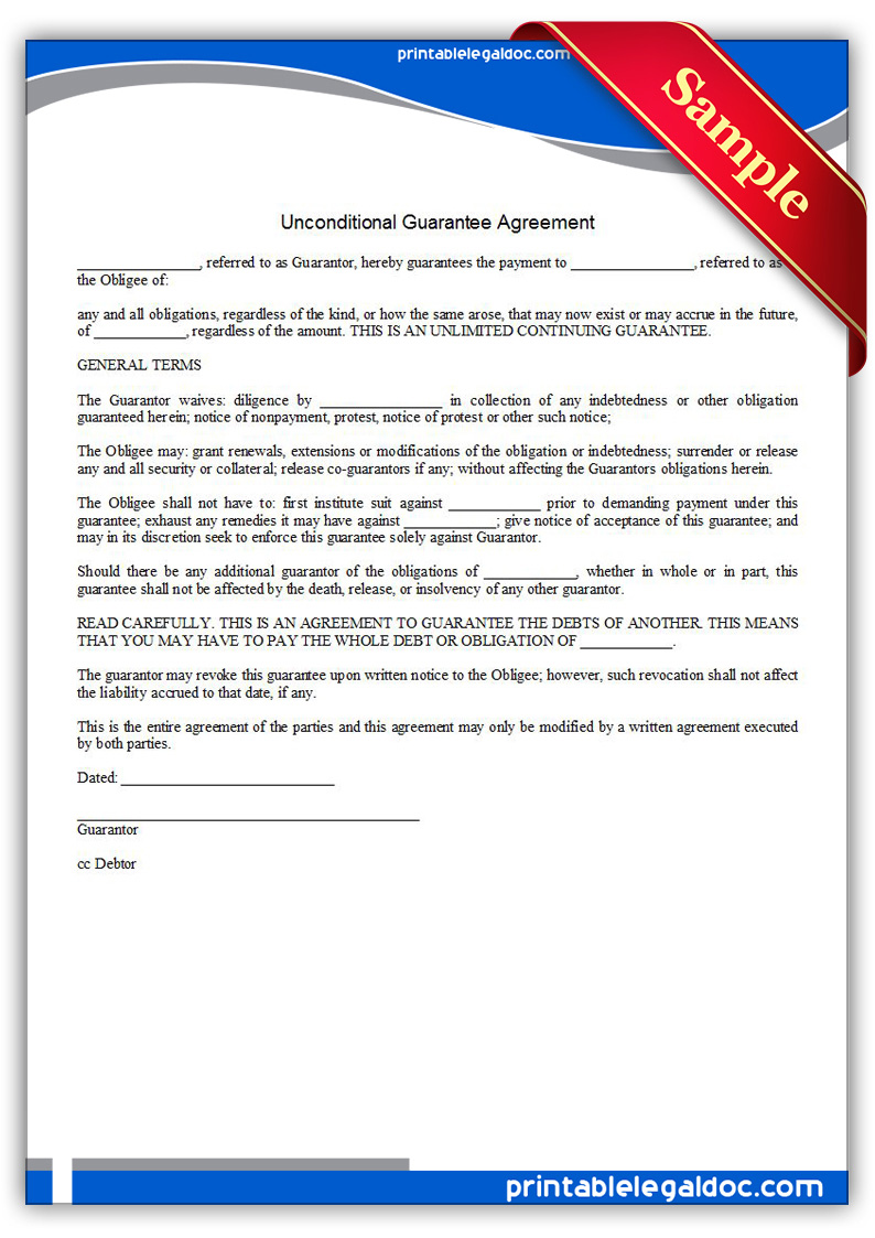 Free Printable Unconditional Guarantee Agreement Form Generic