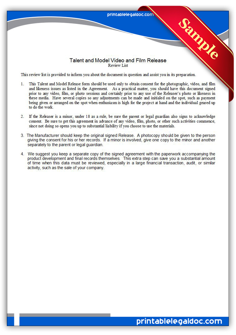 Free Printable Video Or Film Release Talent Models Form GENERIC – Free Printable Liability Release Form