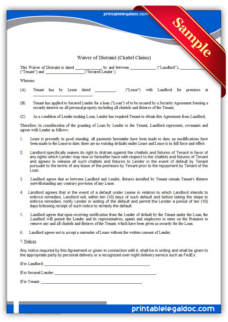 Free Printable Waiver Of Distraint(Chattel Claims) Form