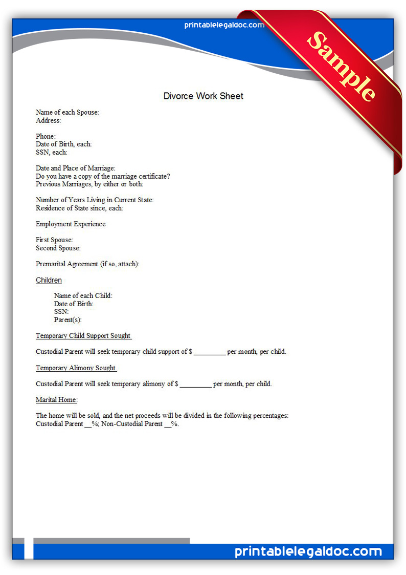 free printable divorce work sheet form  generic