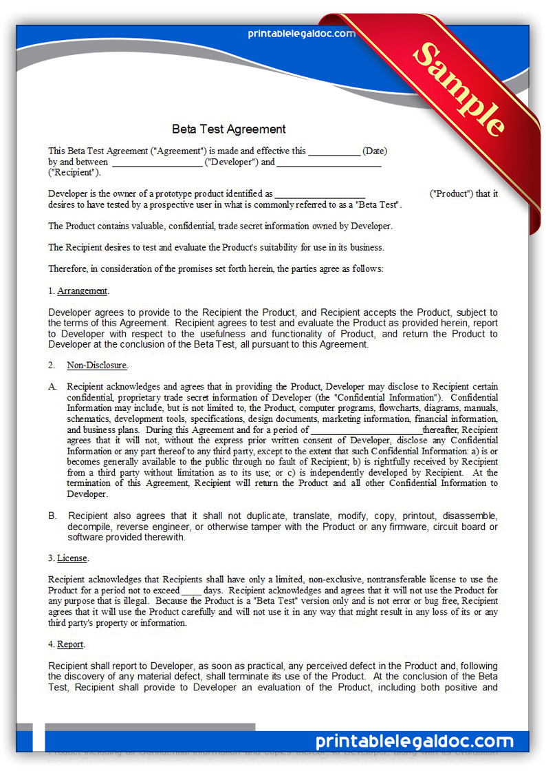 Printable-Beta-Test-Agreement-Form