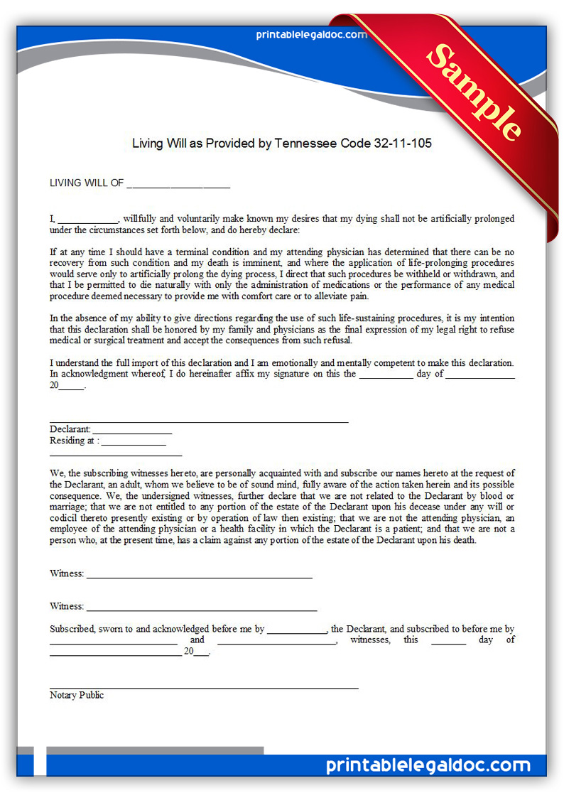 Printable-Life-Sustaining-Statute,-Tennessee-Form