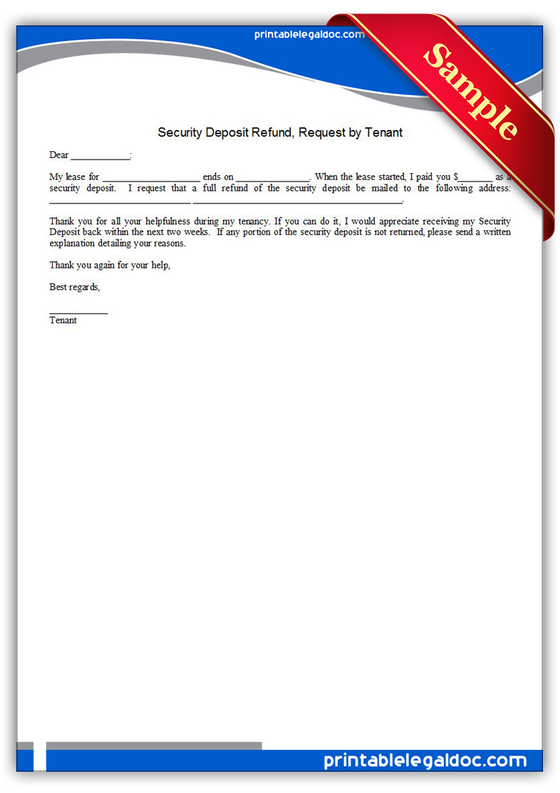 Free Printable Security Deposit Refund, Request By Tenant