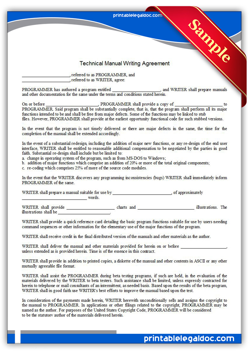 Printable-Technical-Manual-Writing-Agreement-Form