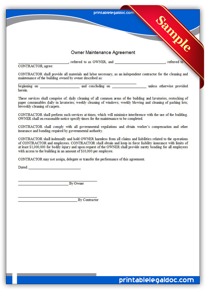 Printable-Building-Maintenance-Agreement-Form