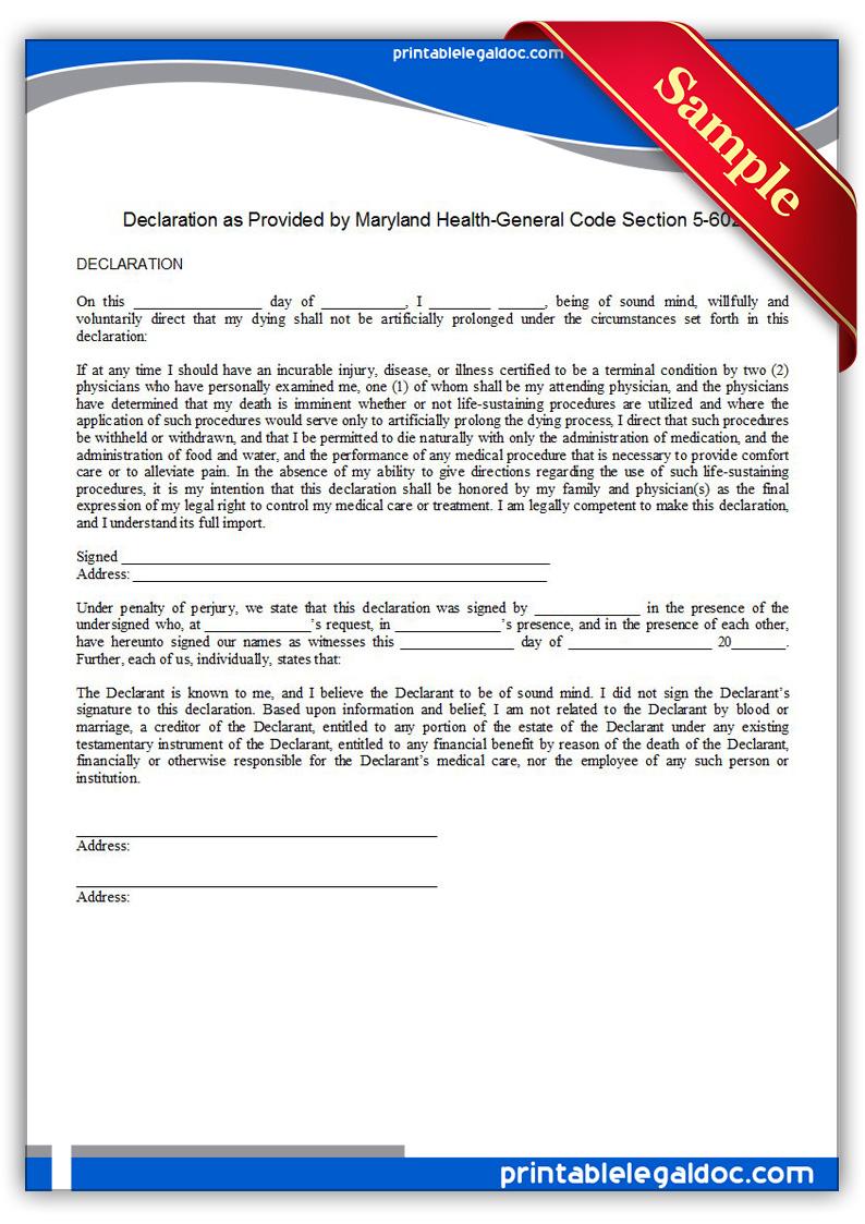 Printable-Life-Sustaining-Statute,-Maryland-Form
