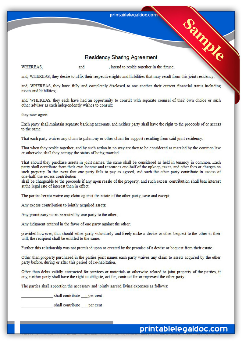 Printable-Residence-Sharing-Agreement-Form