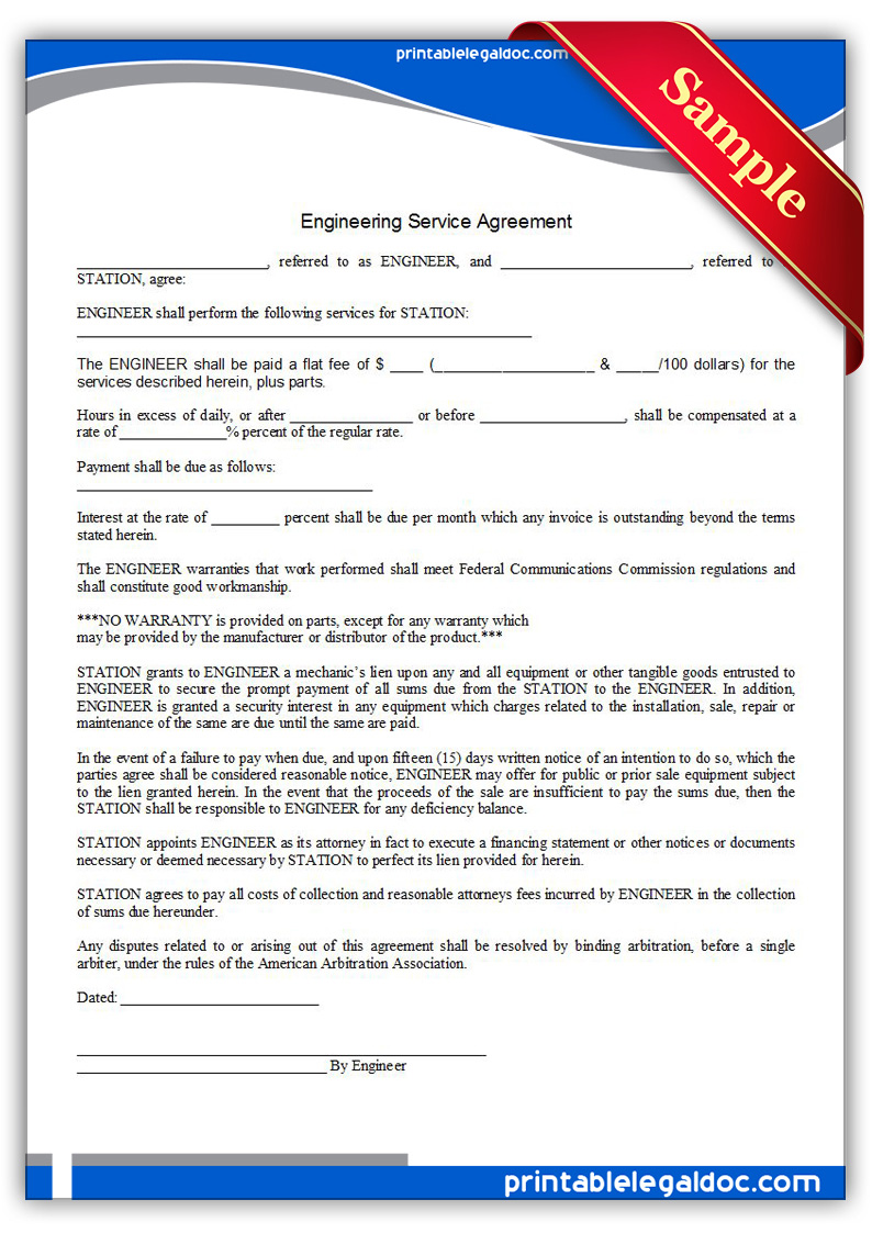 Free Printable Engineering Service Agreement Form Generic